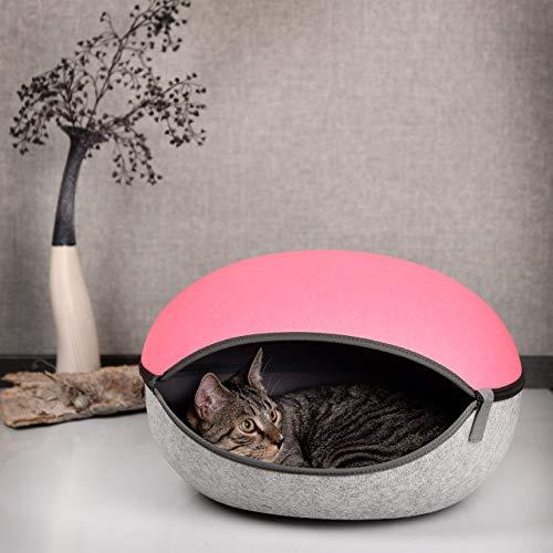 CanadianCat Company ® | Filzhöhle rosa-hellgrau - das Katzenbett, die Kuschelhöhle für Katzen