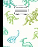 Parasaurolophus, Triceratops And Brontosaurus Colorful Sketches: Dinosaur Composition Notebook Journal for Kids, Teens, Adult   120 Pages   Wide Ruled   7.5 x 9.176