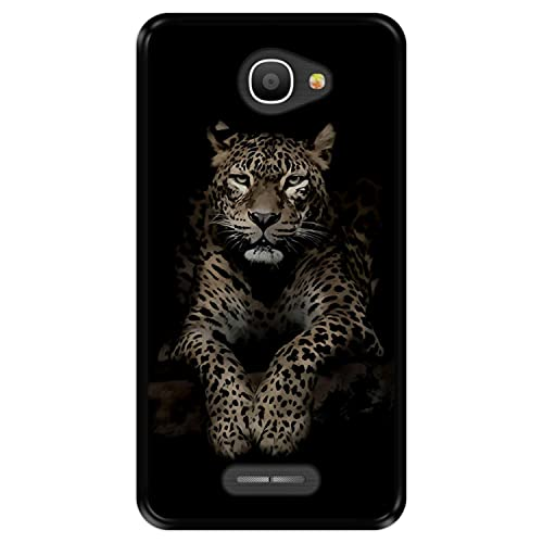 Hapdey Funda Negra para [ Alcatel Pop 4S ] diseño [ Leopardo, Mirando ] Carcasa Silicona Flexible TPU