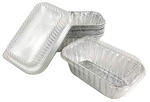 Handi-Foil 1 lb. Aluminum Foil Mini-Loaf/Bread Baking Pan w/Clear Low Dome Lid (Pack of 50 Sets)