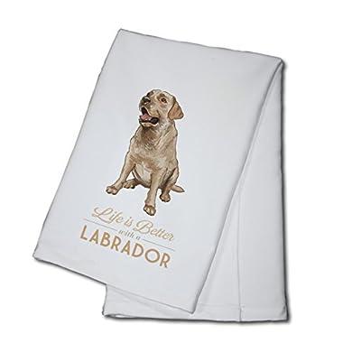 Yellow Labrador Retriever - Life is Better (100% Cotton Kitchen Towel)