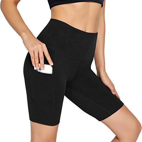 UUE High Waist Women's Yoga Shorts Tummy Control Compression Workout Running Biker Shorts with Pockets- Black