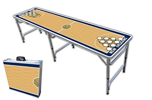 Lowest Price! 8-Foot Professional Beer Pong Table w/Holes - New Orleans Basketball Court Graphic