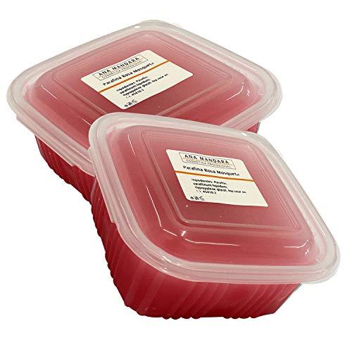ANA MANDARA - Parafina con rosa de mosqueta 1000 ml (2 paquetes de 500ml | 700gr). Tratamiento de parafina para manos y pies.