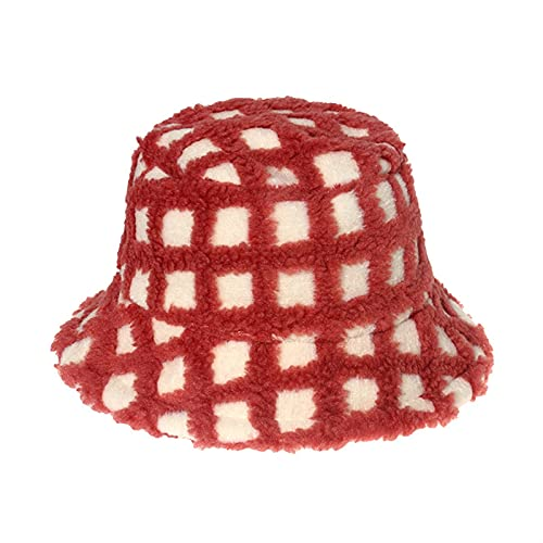 QHMAB Girls' Autumn and Winter Hats, Warm and Cold-Proof, Plush Boys and Girls Hats, Fisherman Hats, Student Hats (Color : Red, Size : 52cm)