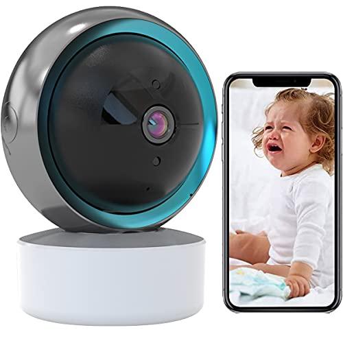 Baby Monitor PTZ Cámara de Seguridad WiFi Cámara de Vigilancia Interior 1080P HD,IR Vision Nocturna,Alerta de Detección de Movimiento,Audio Bidireccional,Compatible con Alexa (Cámara+tarjeta-SD-32G)