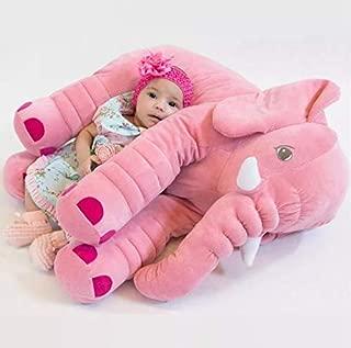 Almofada Travesseiro Elefante de Pelúcia Plush 60cm Rosa para Bebê