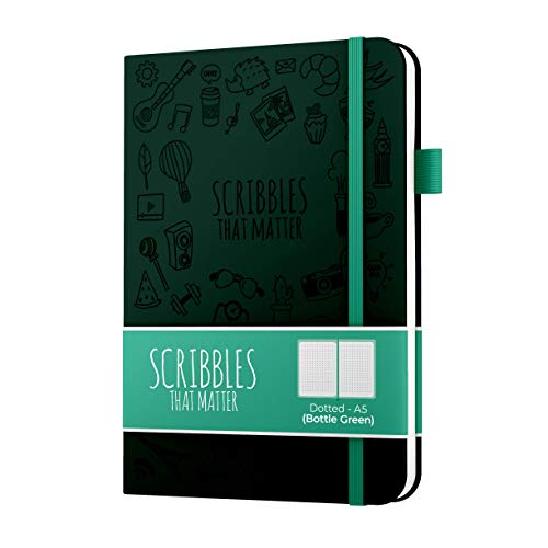 A5 Dotted Journal by Scribbles That Matter - Create Your Perfect Bullet Journal on Ultra Thick 160gsm No Bleed Paper - Hardcover Notebook - Fountain Pens Friendly Paper - Iconic Version - Mint