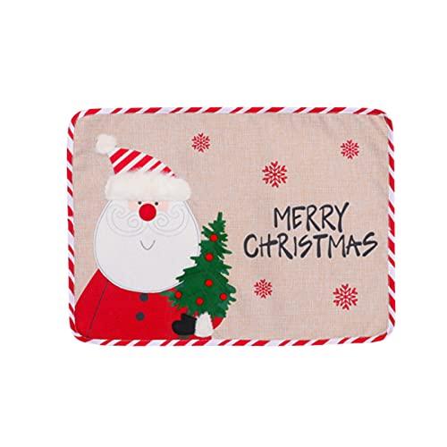 Marooma, 2 tovagliette natalizie, tovagliette, motivo Babbo Natale, per sala da pranzo, cucina, lavabili, decorazione per tavolo