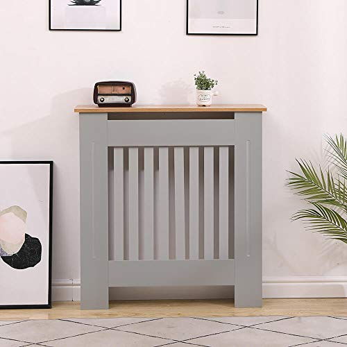 Home Source Oak Top Radiator Cover Wooden Wall Cabinet Shelf Slatted Grill, Grey, Small
