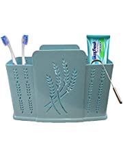 Inditradition 3 Section Toothbrush Toothpaste Holder | Bathroom Toiletries Organizer Stand, Water Drainer (Random Color)