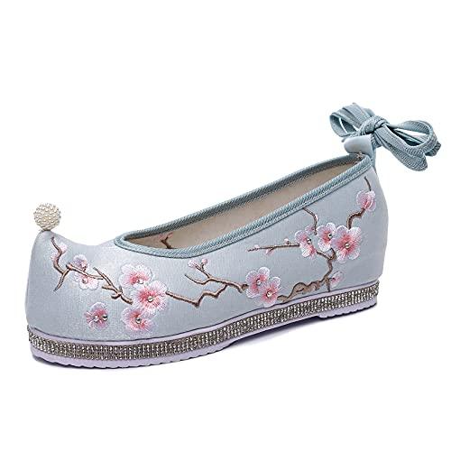 ZCRFYY Zapatos Bordados de Mujer, Tela de Seda Brillante con Cabeza Redonda, adecuados para Comodidad y practicidad en Interiores y Exteriores, con Elementos a Juego,Azul,39