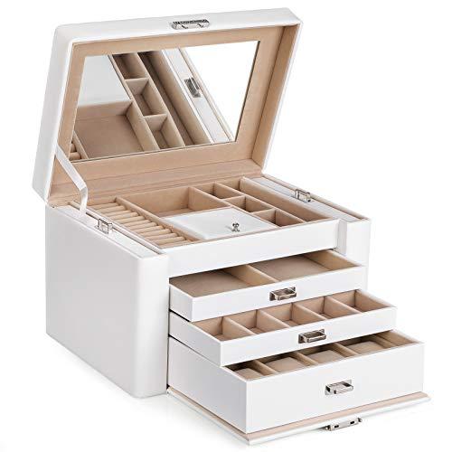 SONGMICS Caja joyero PU Organizador para aretes anillos relojes pendientes con espejo 3 cajones bandejas laterales 29,5 x 21,8 x 19,5 cm, Blanco JBC04W