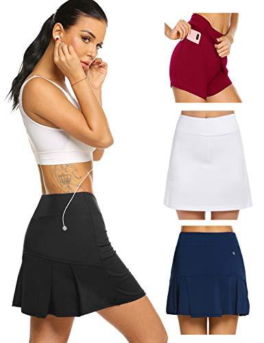 Damen Rock Kurz Tennisrock Hose mit Taschen für Frauen Mädchen Sport Schwarz XL