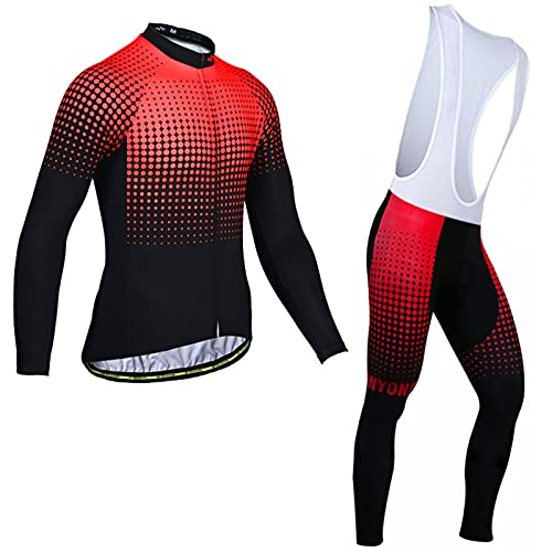 Cycling Jersey Mens Long Sleeve Running Suit Set Bicycle Jacket & Pants with Gel Cushion for Summer Breathable,Red,L