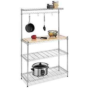 Whitmor Supreme Baker's Rack with Food Safe Removable Wood Cutting Board – Chrome