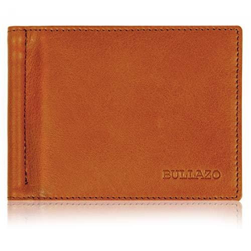 BULLAZO BULLAZO Fino Classic - Herrengeldbörse mit Geldklammer + RFID Schutz, Leder, Cognac