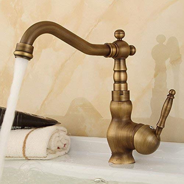 BH-JJSMGSWaschbecken Messing antik Wasserhahn, Waschbecken Einhebel Spüle heien und kalten Einloch-Bad Badewanne Waschtischmischer