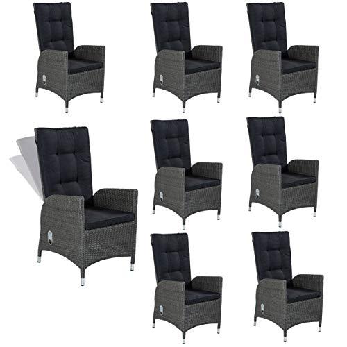 8x Poly Rattan Gartenmöbel Gartenstühle Rocking Chair für die Terrasse oder Garten - Gartensessel Stühle Stuhlgruppe in grau mit verstellbarer Rückenlehne und Kissenauflagen