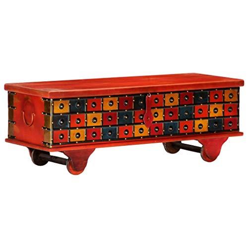 UnfadeMemory Baúl de Madera con Decoración Clásica,Arcon de Almacenaje,Caja Madera Decorativa,Madera Maciza de Acacia,Rojo,110x40x40cm