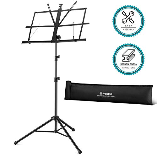 Vekkia Folding Music Stand - Professional Portable Stand for Sheet Music, Adjustable Music Holder with Carrying Bag, Black