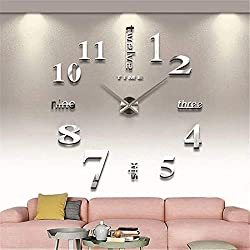 Fanyuanfds Frameless DIY Wall Clock,Large 3D Mirror Wall Clock Home Decorations for Home Living Room Bedroom Office Decoration (WL03-Silver)