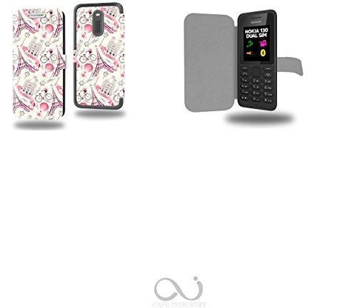 Paris Ville Romantique Collection Pattern Custodia Pelle Ultra Slim per Nokia 130 smartphone - Flip Case Funda Cover protettiva Nokia 130 PU Pelle - CASE Industry accessori
