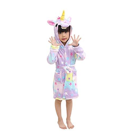 RGTOPONE Enfants Doux Peignoir Licorne Vêtements De Nuit à Capuche en Molleton Peignoir Robe De Chambre Luxueuse Chaud Vêtements De Nuit Confortables Vêtements De Détente Mignon Robe d'Intérieur