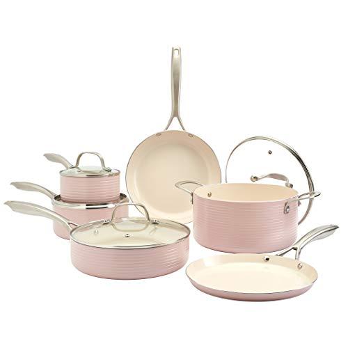 Denmark Tools for Cooks Monaco Cookware Collection Non-Stick Durable Aluminum Oven Safe, 10 Piece Monaco Cookware Set in Petal Pink