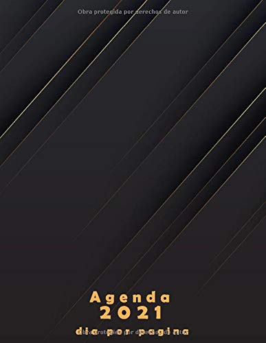 Agenda 2021 dia por pagina: Planificador anual A4 español - negra | Calendario 2021 | agenda diaria 2021 XXL, 365 dias, de enero a diciembre 2021