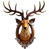 Home Decoración de Pared Escultura Arte Dramática escultura ciervos dirigen la pared, resina...