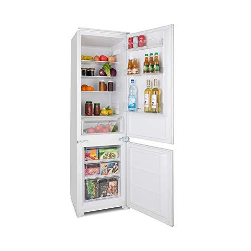 Klarstein CoolZone 250 Eco - A++, Kühl-Gefrier-Kombination, Einbau Kühlschrank mit Einbaumaterial, 208 kWh/Jahr, 250 Liter Gesamtvolumen, 54 x 177 x 54 cm (BxHxT), LED, weiß