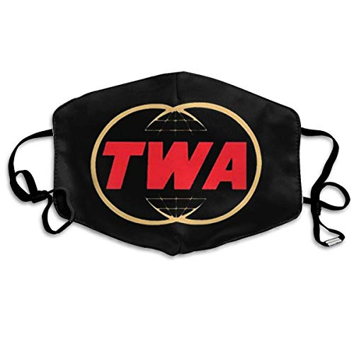 uanglongping Unisex Reusable Nose Mouth Dust Cover with TWA Trans World Airlines Logo Dust Mouth Cover with Adjustable Earloops