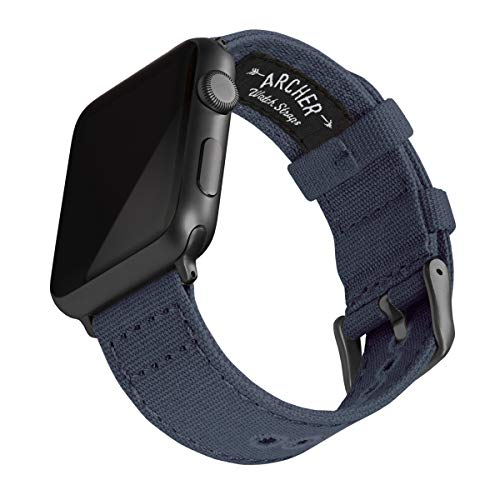 Archer Watch Straps | Cinturini Ricambio di Tela per Apple Watch, Uomini e Donne (Navy Blu, Grigio Siderale, 42/44mm)