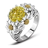Lzz Fashion Lady 925 Sterling Silver Ring 3.5ct Citrine Daisy Ring Cubic Zirconia Sunflower Flower Wedding Ring Size 6-10 (US Code 7)