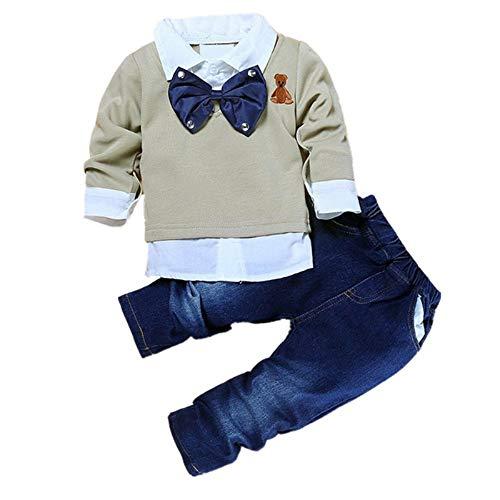 Puseky Kleinkind-Outfit, Kleidung für Baby/Junge, Hemd mit Fliege + Jeans-Hose