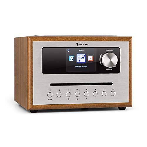 auna Silver Star CD - Cube Radio, WLAN-Radio mit CD-Player, Micro-Anlage, 21cm Breite, UKW-Tuner, Bluetooth, 10 Watt RMS, AUX-In, App-Steuerung, Holzoptik, inkl. Fernbedienung, braun