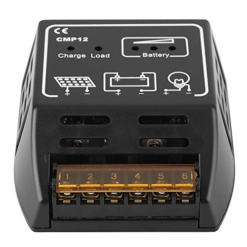 Controlador de Carga Solar, regulador del Panel Solar Controlador de Carga Controlador fotovoltaico Inteligente Identificación automática Regulador de batería 12V 10A