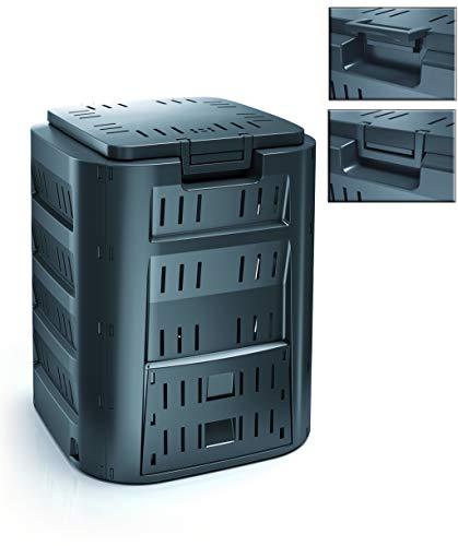 Komposter mit 220 Liter Fassungsvermögen und Zwei Öffnungen zum Füllen und Entnehmen - Farbe: Schwarz/Anthrazit