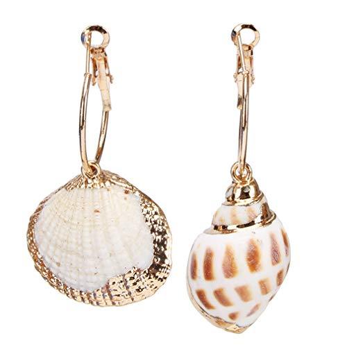 Weiy Jakobsmuschel Kauri Muschel Ohrringe Tropfen Muscheln Marine Life gestreifte Vintage Ohrringe filigran Leverback baumeln Ohrringe für Frauen