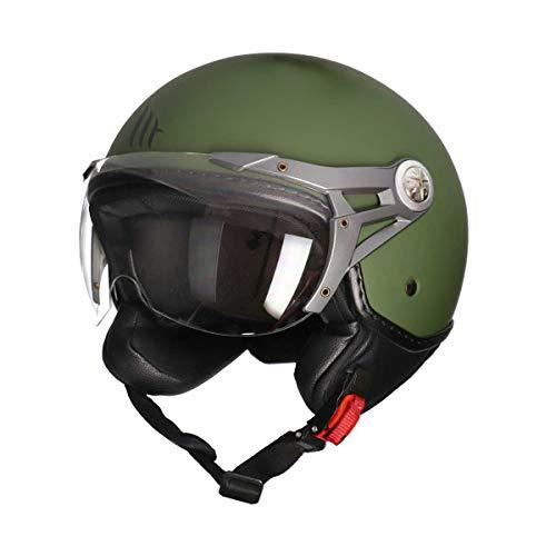 MT Soul Jet-Helm Motorrad-Helm Roller-Helm Scooter-Helm Bobber Mofa-Helm Chopper Retro Cruiser Vintage Pilot Biker ECE 22.05 (matt grün, L)