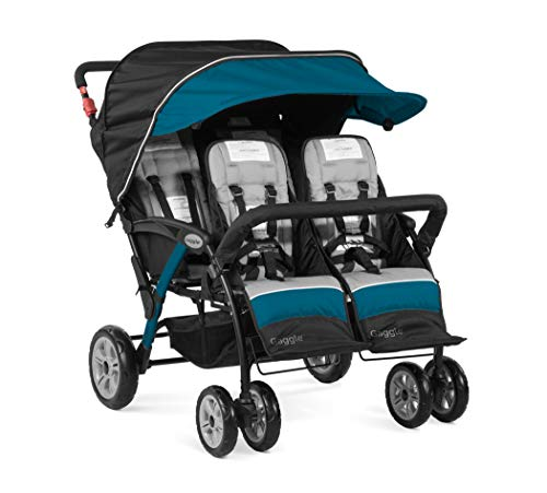 Gaggle Compass 4-Seat Quad Stroller with Canopy, 5-Point Harness, Foot-Brake (Teal)