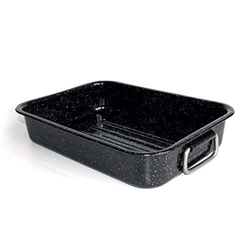 Beka 14721324 Kitchen Roc Plat à four en acier émaillé noir moucheté 32 cm