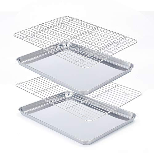 Baking Sheet with Rack Set [2 Pans + 2 Racks ], Size 16 x 12 x 1 Inch, Stainless Steel Cookie Pan with Cooling Rack, Heavy Duty, Mirror Finish,Dishwasher Safe