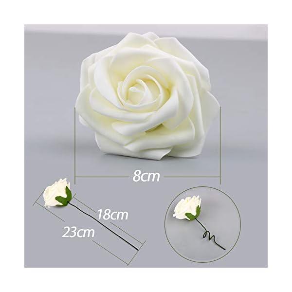 VINFUTUR 50pcs Rosas Artificiales Blancas Flores Artificiales Espuma con Hojas y Tallos Cabezas de Rosa Falsa Artificial…