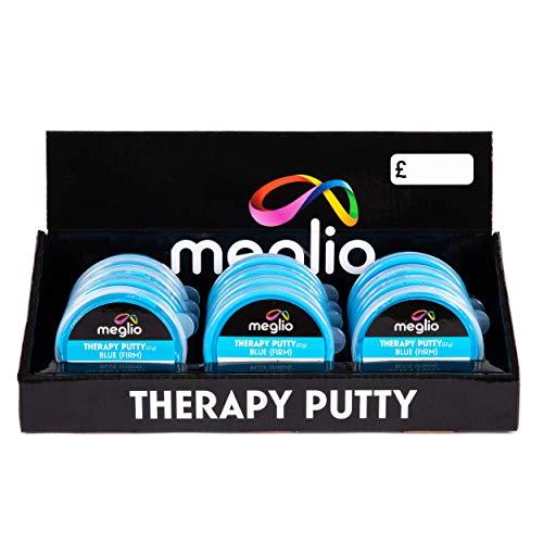 Meglio Therapy Hand Putty 57g Display Box van 12 - voor handoefeningen gericht handherstel en rehabilitatie, krachttraining en stressverlichting, Variabele Resistieve Kracht Extra Licht, Licht, Medium & Stevig Blue (Firm)