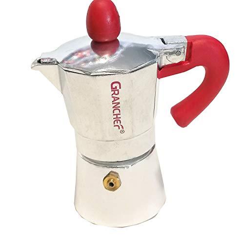 Bi.Com Granchef Caffettiera in Alluminio 1/2 Tazza, Moka Caffe Espresso con Il Manico e Il Pomelo Rosso (Mezza 1/2 Tazza)