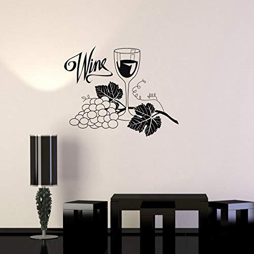 Vin de raisin verre alcool sticker mural vinyle imperméable sticker mural boisson bar cuisine sticker mural design à la maison papier peint 28 * 42 cm