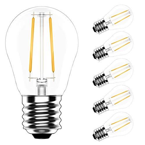 5X E27 Filament Lampen 2W LED Edison Birne G45 Warmweiß 2700K LED Filament Leuchtmittel 200LM Ersatz für 20W Glühlampen AC220V-240V
