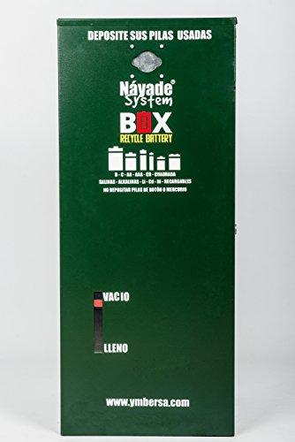 Náyade System® Box Recicle Battery: Rassembleur - distributeur extérieur pour la collecte et le recyclage des piles usagées + 5 bacs de recyclage de cadeaux